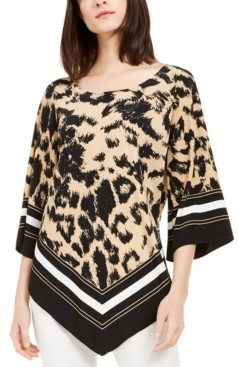 Alfani Printed Point-Hem Top, Created for Macy's