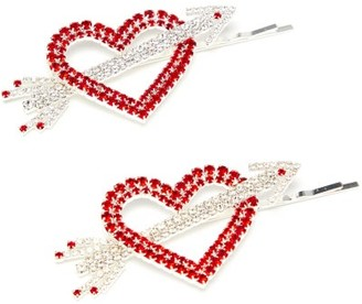 Art School Heart & Arrow Crystal-embellished Hair Slides - Red Multi