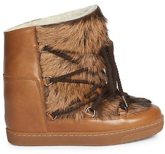 Isabel Marant Nowles Shearling-Lined Goat Fur Leather Boots