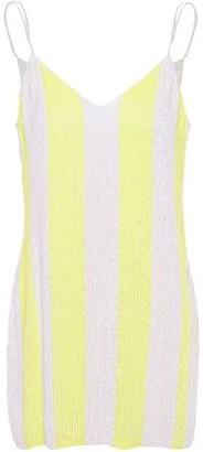 retrofete Striped Sequined Crepe De Chine Mini Dress