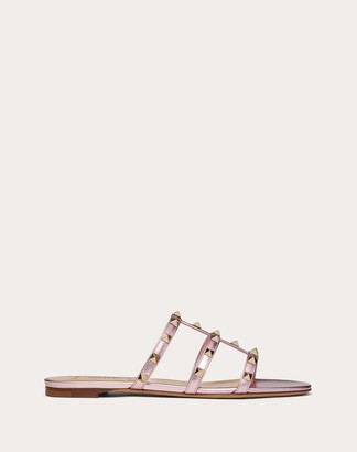 Valentino Rockstud Flat Laminated Nappa Slide Sandal Women Light Pink Lambskin 100% 34