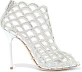 Sergio Rossi Crystal-embellished Metallic Leather-paneled Laser-cut Suede Ankle Boots