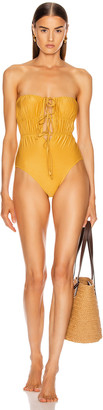 Solid & Striped Paula Swimsuit in Glitter Gold | FWRD