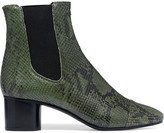 Isabel Marant Danae Python-effect Leather Ankle Boots - Army green