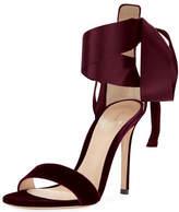 Gianvito Rossi Gala Velvet & Satin Ankle-Tie Sandal