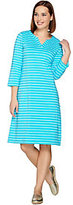 Denim & Co. As Is 3/4 Sleeve Split V-Neck Striped Dress with Pockets