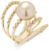 Mizuki Women's 14K Yellow Gold South Sea Diamond Ring