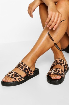 boohoo Leopard Double Strap Footbed Slides