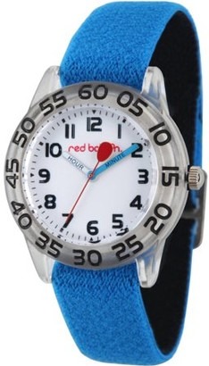 Red Balloon Boys' Clear Plastic Time Teacher Watch, Reversible Blue and Black Elastic Nylon Strap