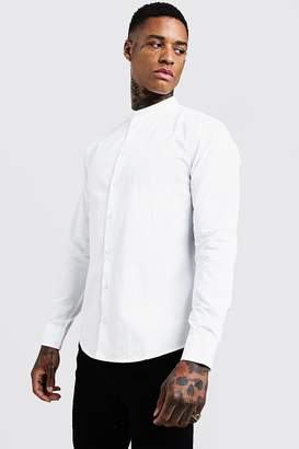 BoohoomanBoohooMAN Mens White Cotton Poplin Grandad Shirt In Long Sleeve, White