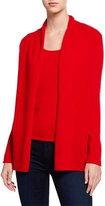 Neiman Marcus Plus Size Open-Front Long-Sleeve Cashmere Cardigan