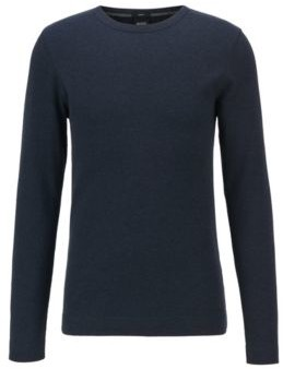 HUGO BOSS Slim Fit T Shirt With Long Sleeves In Waffle Cotton - Dark Blue