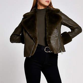 River Island Khaki faux fur cuff quilted biker jacket