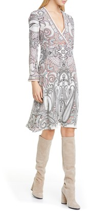 Etro Paisley Print Long Sleeve Silk Faux Wrap Dress