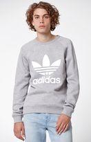 adidas Trefoil Heather Grey Crew Neck Sweatshirt