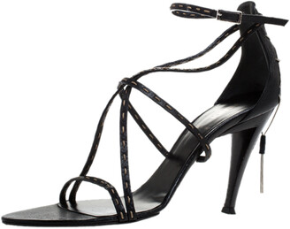 Fendi Black Leather White Stitch And Metal Chain Detail Strappy Sandals Size 39.5