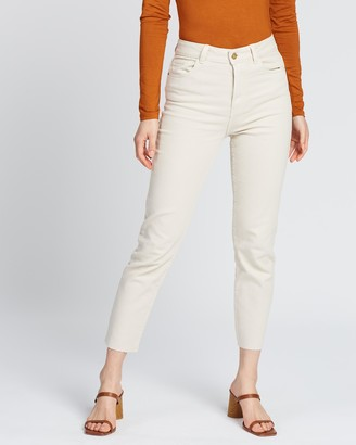 Only Emily Life High-Waist Straight Raw Hem Jeans