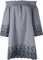 P.A.R.O.S.H. off-shoulders striped shift dress - women - Cotton/Polyamide/Polyester/Spandex/Elastane - S