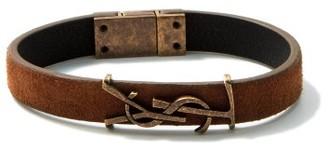 Saint Laurent plaque Leather And Antiqued-metal Bracelet - Brown