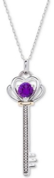 """Macy's Lab-Created Ruby (3/4 ct. t.w.) & Diamond Accent Key 18"""" Pendant Necklace in Sterling Silver & 10k Gold"""