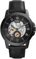 Fossil Men's Automatic Grant Black Leather Strap Watch 45mm ME3096