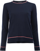 Thom Browne striped trim knitted top - women - Wool - 40