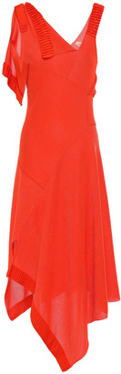 Victoria Beckham Asymmetric Draped Pleated Stretch-knit Midi Dress