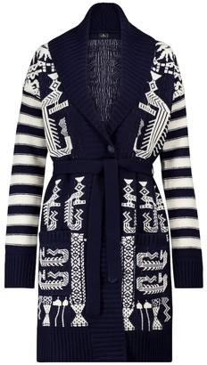 Etro Belted wool-blend intarsia cardigan