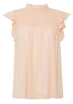 Dorothy Perkins Womens Blush Shirred Ruffle Top