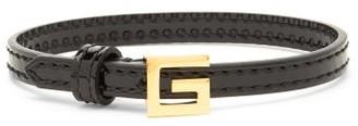 Gucci G-logo Buckle Patent-leather Bracelet - Black