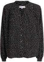 Frame Pleated Polka Dot Blouse