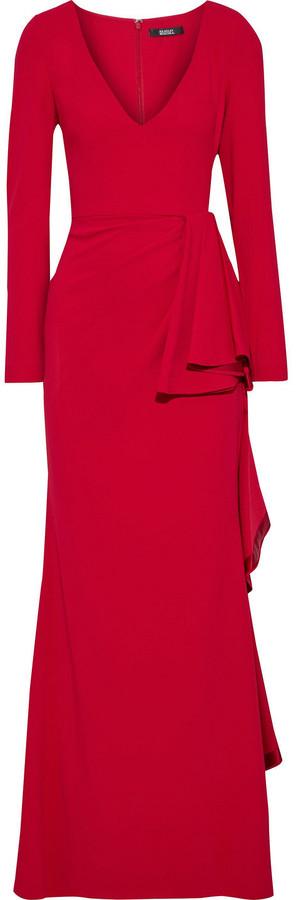 Badgley Mischka Ruffled Stretch-cady Gown