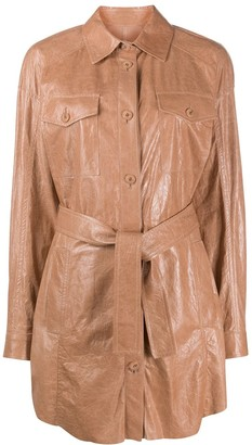 Drome Belted Leather Shirt-Coat