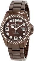 Haurex Italy Women's XK374DMM Ink Stones Brown Aluminum Crystal Date Watch