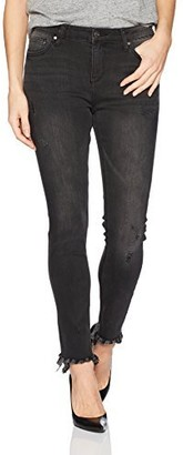 EVIDNT Women's Palermo MID Rise Skinny Ankle Frayed Distressed Jeans
