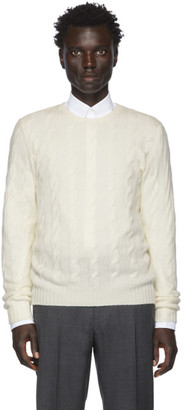 Ralph Lauren Purple Label Off-White Cashmere Cable-Knit Sweater
