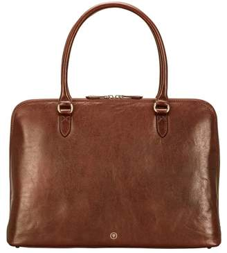 Maxwell Scott Bags Luxury Italian Leather Tan Work Handbag For Women