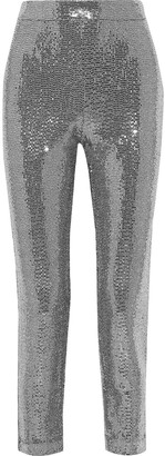 Badgley Mischka Cropped Sequined Metallic Stretch-jersey Slim-leg Pants