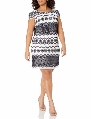 Julia Jordan Women's Plus Size One Piece Cap Sleeve Printed Chiffon Sheath