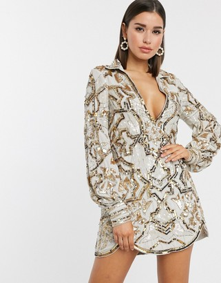 ASOS DESIGN plunge front shirt mini dress in tile embellishment