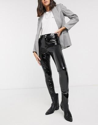 Topshop vinyl skinny trousers in black