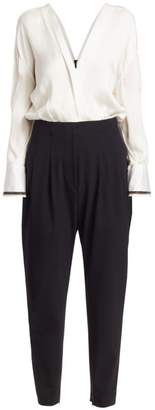 Brunello Cucinelli Monili-Trimmed Silk Blouson Jumpsuit