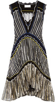 Peter Pilotto Silk Blend-trimmed Metallic Chiffon Dress - Midnight blue