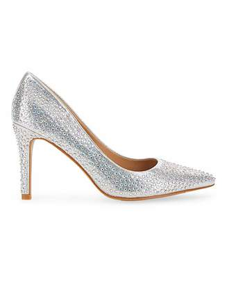 Simply Be Venus Glitzy Court Shoe Extra Wide Fit