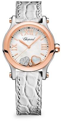 Chopard Happy Sport Diamond, 18K Rose Gold, Stainless Steel & White Alligator Strap Watch