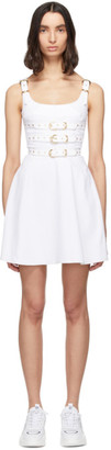 Versace White Denim Buckles Dress