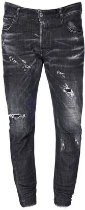 DSQUARED2 17cm Print Tidy Biker Cotton Denim Jeans