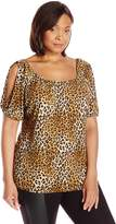 Star Vixen Women's Plus-Size Short Sleeve Elastic Slit Tunic
