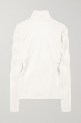 Dion Lee Open-back Ribbed Merino Wool-blend Turtleneck Sweater - Ivory