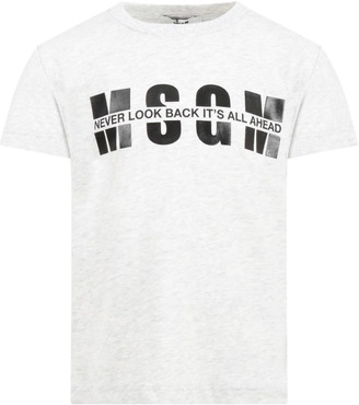 MSGM Gray T-shirt For Kids With Logo